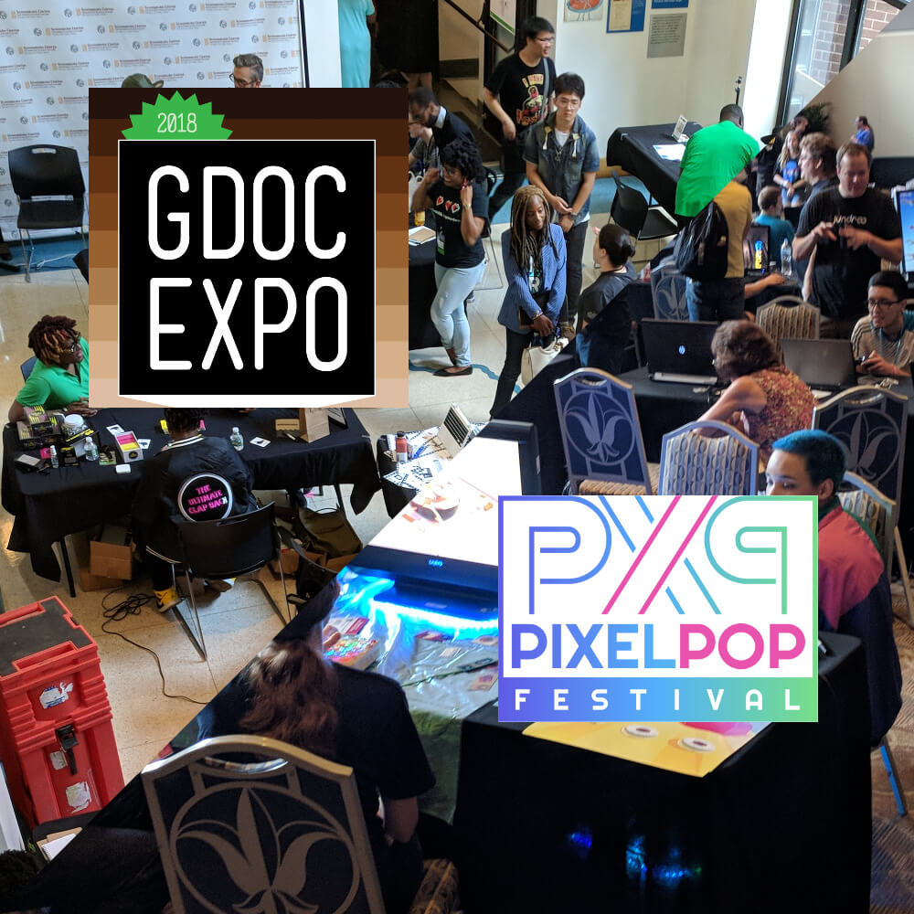 """A square image, divided diagonally through the middle: the upper-half shows a crowd from Game Devs of Color Expo, along with a square logo that reads """"2018 GDOC Expo."""" The bottom-half shows a crowd from PixelPop Festival, alongside a white, rectangular logo reading """"PixelPop Festival."""""""