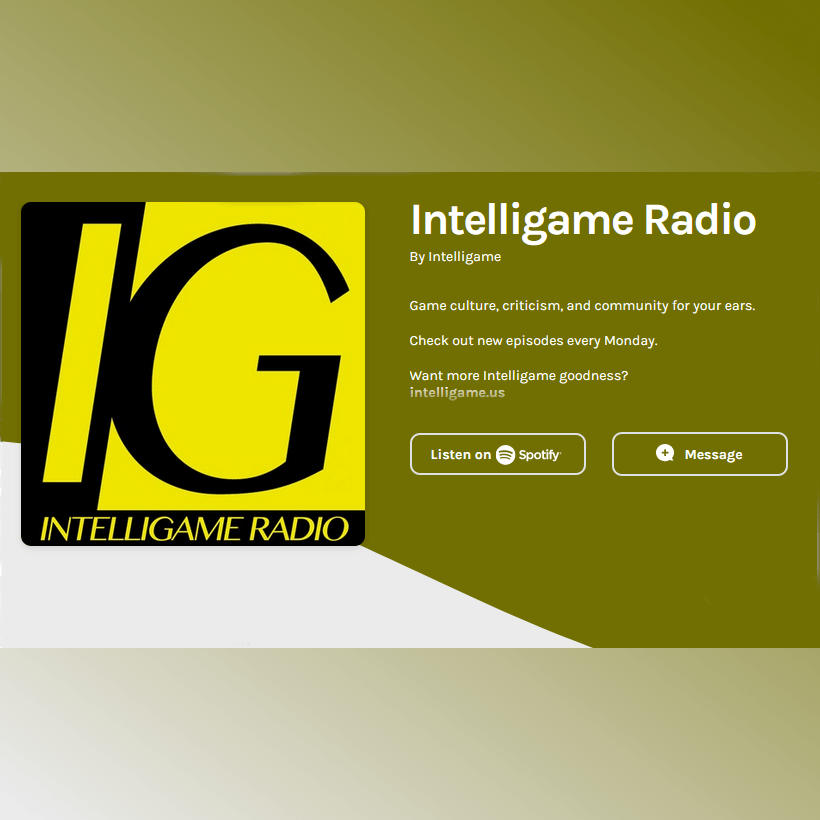 """A splash page for the Intelligame Radio podcast, featuring a large black-and-yellow square with the letters """"IG"""" in capitals."""
